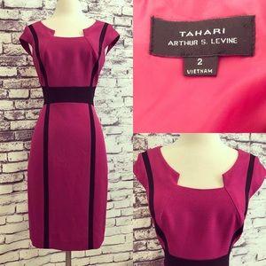 Tahari Pink Maroon Black Sexy Sheath Dress